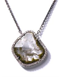 Susan Foster - Diamond Slice and Blackened Gold Necklace - Lyst