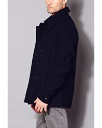 Forever 21 - Blue Crisp Wool-blend Peacoat for Men - Lyst