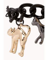 Forever 21 - Black Cool Cats Charm Bracelet - Lyst