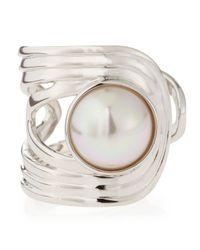 Majorica | Metallic Pearl Cuff Ring Size 7 | Lyst