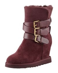 Ash | Red Yes Shearlingcuff Wedge Boot Burgundy | Lyst