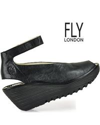 Fly London - Black Ankle Strap Peep Toe Wedge - Lyst