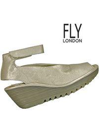 Fly London | Metallic Yala Leather Ankle Strap Peep Toe Wedge in Silver | Lyst
