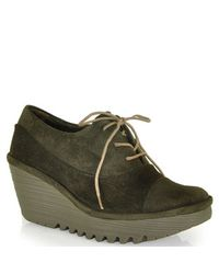 Fly London - Black Yif Suede Tie Wedge - Lyst