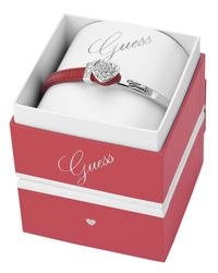 Guess | Metallic Heart Red Leather Bracelet Box Set | Lyst
