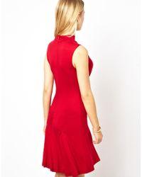 Love - Red High Neck Skater Dress - Lyst