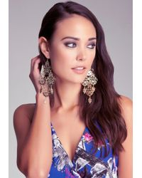 Bebe - Metallic Statement Filigree Earrings - Lyst