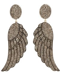 Carole Shashona | Metallic Black Diamond Soul Wing Earrings | Lyst