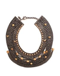 Iosselliani | Metallic Stones And Chain Bib Necklace | Lyst