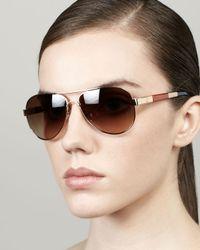 Tory Burch - Metallic Stripedarm Aviator Sunglasses - Lyst