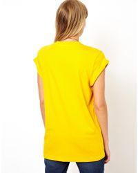 ASOS - Yellow Boyfriend Tshirt with Roll Sleeve - Lyst