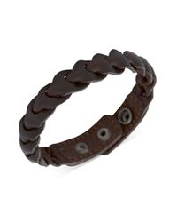 Fossil | Black Brass and Brown Leather Braided Wrap Bracelet for Men | Lyst