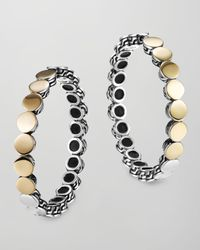 John Hardy | Metallic Dot Silver Goldplate Medium Hoop Earrings | Lyst