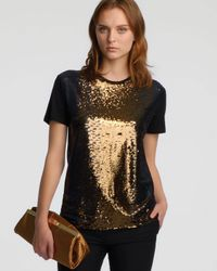 Halston - Black Shortsleeve Sequined Tee Dark Gold - Lyst