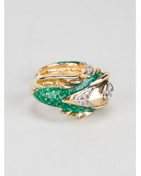 Roberto Cavalli   Green Double Dragon Ring   Lyst