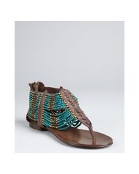 Ash | Molly - Brown Leather Beaded Thong Sandal | Lyst