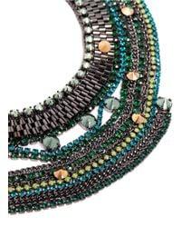Iosselliani - Green Stones And Chain Bib Necklace - Lyst