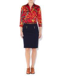 Lauren by Ralph Lauren | Blue Pencil Skirt With Zip Detail | Lyst
