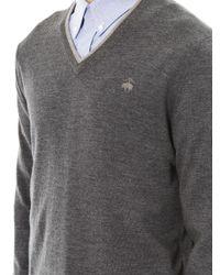 Brooks Brothers - Gray Merino-Wool V-Neck Sweater for Men - Lyst
