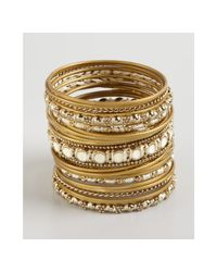 Chamak by Priya Kakkar - Metallic Set Of 25 Gold Metal Enamel and Thread Thin Bangles - Lyst