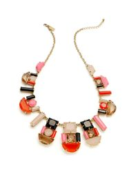 kate spade new york | Multicolor New York Necklace Goldtone Pink and Black Stone Graduated Necklace | Lyst