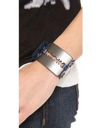 McQ | Blue Razor Cuff Bracelet | Lyst