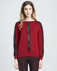 Nanette Lepore - Red Oui Oui Sheerinset Pullover - Lyst