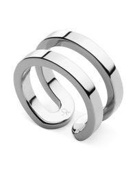 Calvin Klein - Metallic Silvertone Open Ring - Lyst