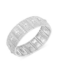 Carolee | Metallic Silvertone Cubic Zirconia Stretch Bracelet 15 Ct Tw | Lyst