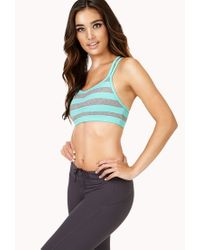 Forever 21 - Blue Low Impact - Striped Sports Bra - Lyst
