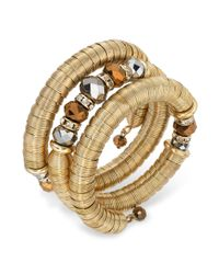 INC International Concepts | Metallic Goldtone Glass Rondelle Coil Bracelet | Lyst