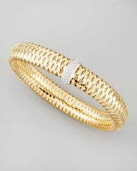 Roberto Coin | Metallic Primavera 18k Large Flat Diamond-station Bracelet | Lyst
