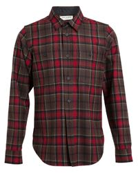 Saint Laurent - Red Tartan Fine Wool Shirt for Men - Lyst