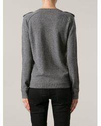 Burberry Brit - Gray Epaulette Sweater - Lyst