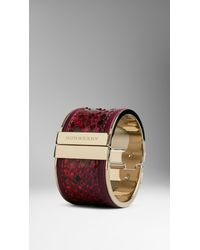 Burberry - Red Leather Trim Painted Python Cuff - Lyst