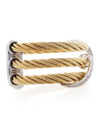 Charriol - Metallic Woven Diamond Pave Cable Ring Size 65 - Lyst
