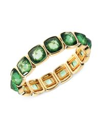 Anne Klein - Goldtone Green Stone Bangle Bracelet - Lyst