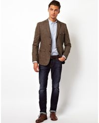 ASOS - Brown Asos Slim Fit Blazer in Donegal for Men - Lyst