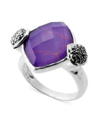 Judith Jack | Sterling Silver Imitation Purple Turquoise 923 Ct Tw and Marcasite 12 Ct Tw Ring | Lyst