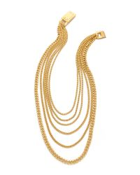 Michael Kors - Metallic Multi Chain Plaque Necklace - Lyst