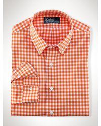 Polo Ralph Lauren | Orange Gingham Cotton Poplin Shirt for Men | Lyst