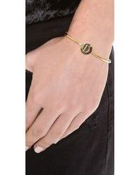 Sarah Chloe | Metallic Ella Engraved Adjustable Bracelet - J | Lyst