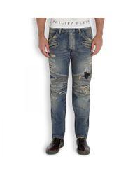 Balmain | Blue 16.5cm Destroyed Stretch Denim Jeans for Men | Lyst