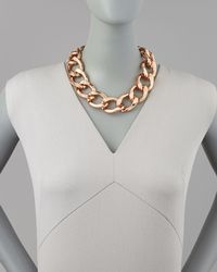 Kenneth Jay Lane | Metallic Rose Golden Chain Link Necklace | Lyst