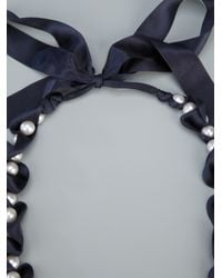 Lanvin - White Pearl and Ribbon Necklace - Lyst