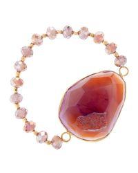 Panacea | Pink Druzy Stone Stretch Bracelet Purple | Lyst