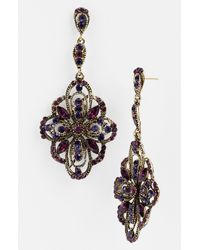Tasha   Purple Ornate Large Drop Earrings   Lyst