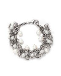 Alexander McQueen | Metallic Pearl Skull Bracelet | Lyst