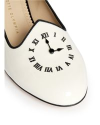 Charlotte Olympia - White Fashionably Late Clock Face Patent Flats - Lyst