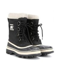 Sorel - Black Caribou Leather and Rubber Boots - Lyst